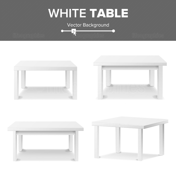 Empty White Plastic Table Set Isolated On White Background  Realistic Platform  Vector Illustration