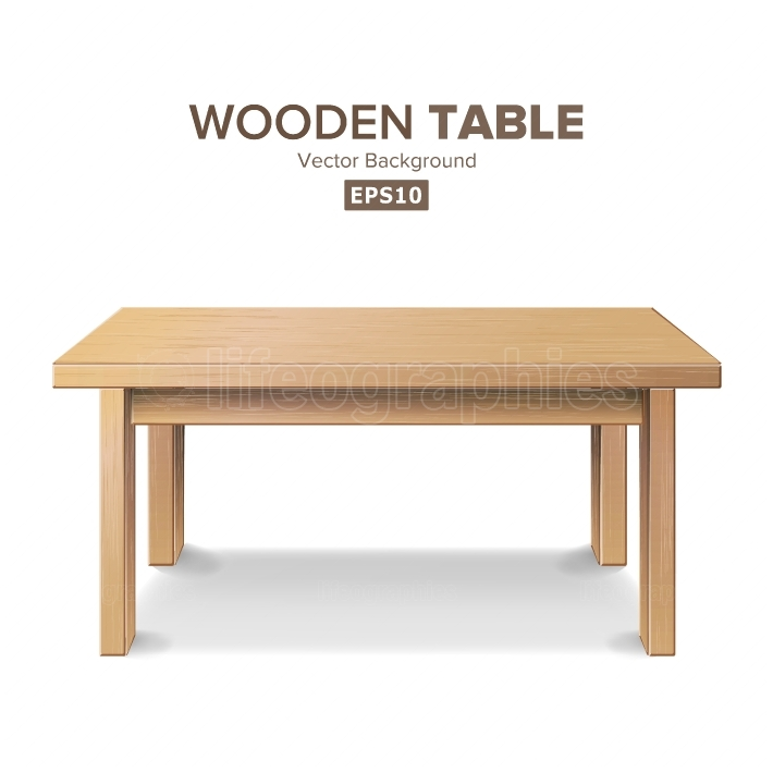 Empty Wooden Table Vector  Isolated Furniture, Stand  Clean Stand Template For Object Presentation  Realistic Vector Illustration