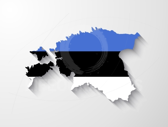 Estonia map with shadow effect
