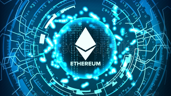 Ethereum Abstract Technology Background Vector  Binary Code  Fintech Blockchain  Cryptography  Cryptocurrency Mining Concept Illustration