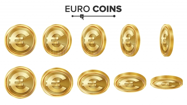 Euro 3D Gold Coins Vector Set  Realistic Illustration  Flip Different Angles  Money Front Side  Investment Concept  Finance Coin Icons, Sign, Success Banking Cash Symbol  Currency Isolated On White