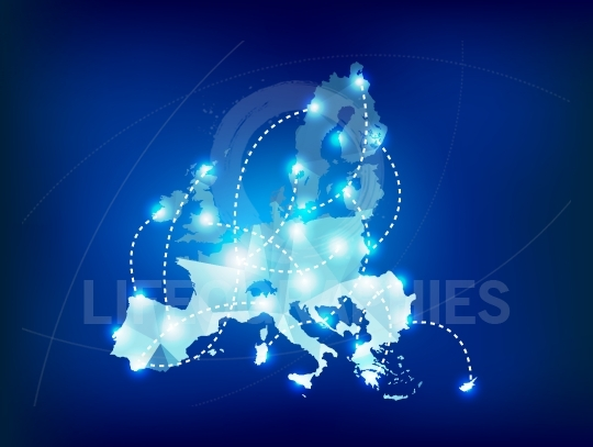 European Union map polygonal with spot lights places
