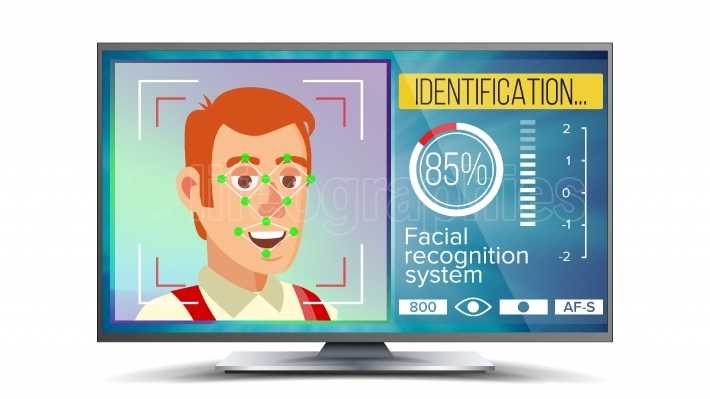 Face Recognition And Identification Vector  Face Recognition Technology  Face On Screen  Human Face With Polygons And Points  Scanning Security Illustration