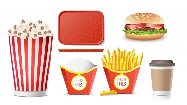 Fast Food Icons Set Vector  French Fries, Coffee, Hamburger, Cola, Tray Salver, Popcorn  Isolated On White Background Illustration