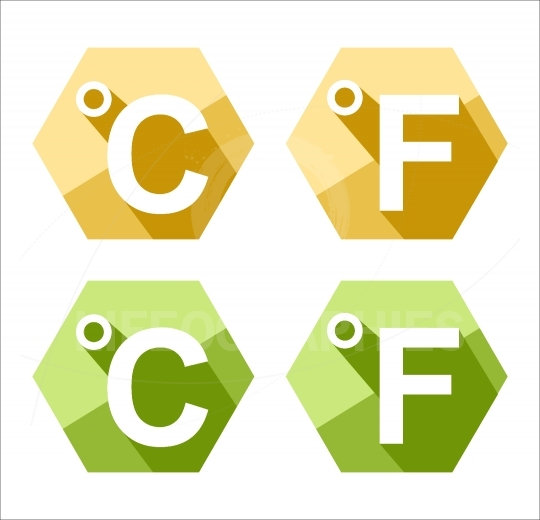 Flat design Celsius and Fahrenheit symbol icon set isolated on w