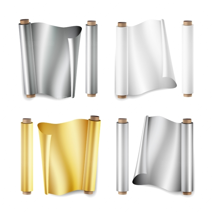 Foil Roll Set Vector  Aluminium, Metal, Gold, Baking Paper  Close Up Top View  Opened And Closed  Realistic Illustration Isolated On White