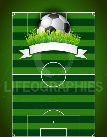 Football soccer ball on green field background presentation