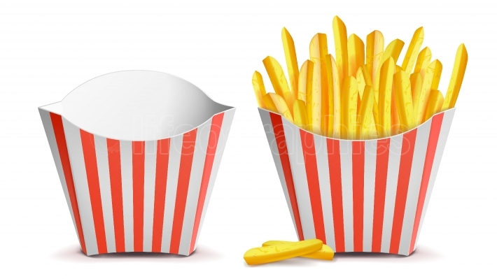 French Fries Potatoes Vector  Classic Striped Red White Paper Box  Empty And Full  Isolated On White Illustration