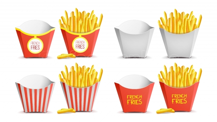 French Fries Set Vector  Classic Paper Bag  Tasty Fast Food Potato  Fast Food Icons Potato  Empty And Full  Isolated Illustration
