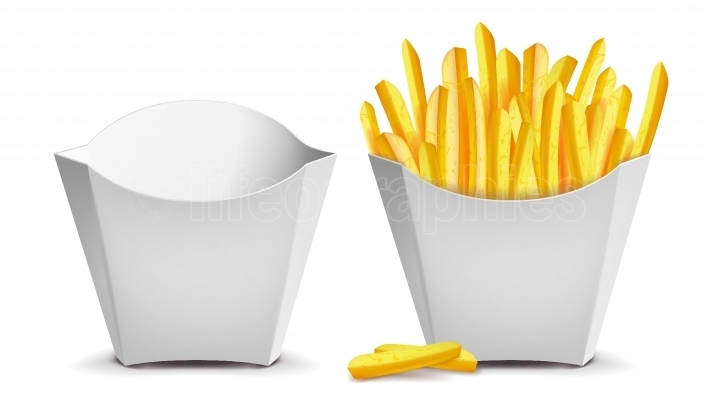 French Fries Vector  White Empty Blank Paper Bag  Fast Food Icons Potato  Empty And Full  Isolated Illustration