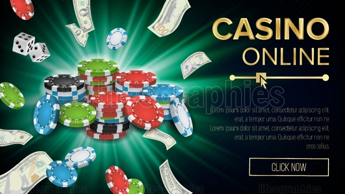 Gambling Casino Banner Vector  Explosion Bright Chips, Playing Dice, Dollar Banknotes  Winner Symbol  Jackpot Billboard, Luxury Banner Illustration