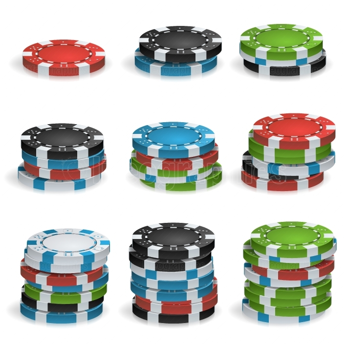 Gambling Chips Stacks Vector  3D Realistic  Poker Game Chips Isolated On White Background Illustration