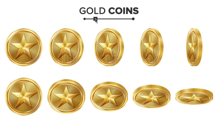 Game 3D Gold Coin Vector With Star  Flip Different Angles  Achievement Coin Icons, Sign, Success, Winner, Bonus, Cash Symbol  Illustration Isolated On White  For Web, Game Or App Interface