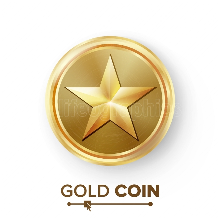 Game Gold Coin Vector With Star  Realistic