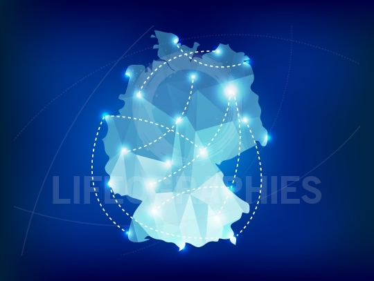 Germany country map polygonal with spot lights places