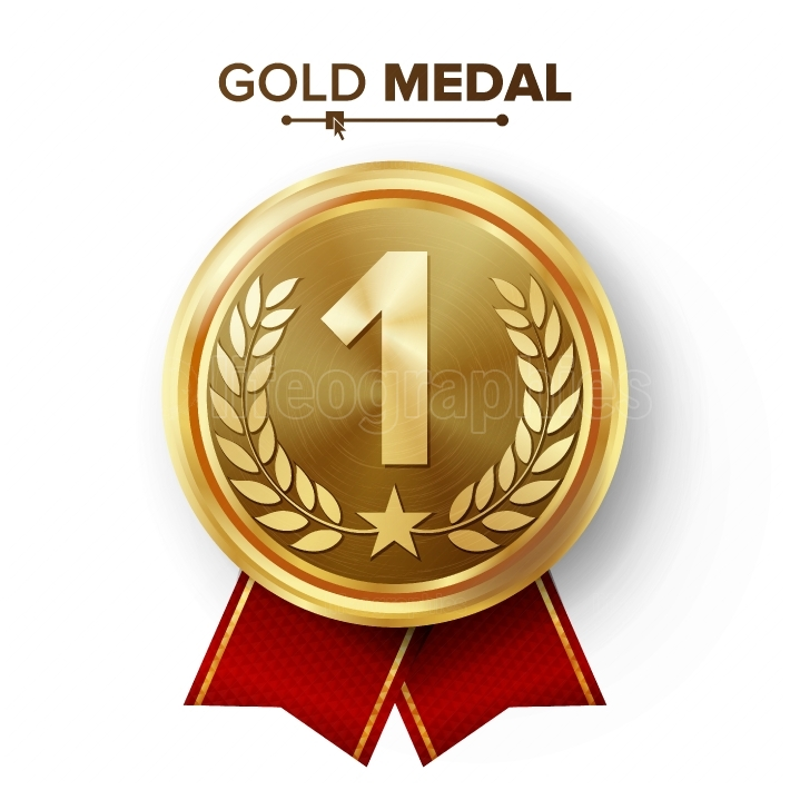 Gold 1st Place Medal Vector  Metal Realistic Badge With First Placement Achievement  Round Label With Red Ribbon, Laurel Wreath, Star  Winner Honor Prize  Competition Game Golden Winner Trophy Award