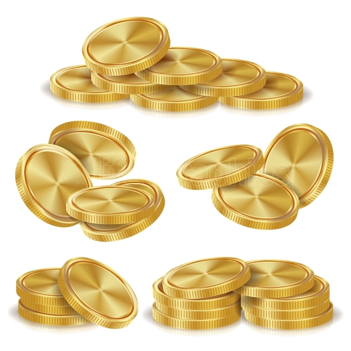 Gold Coins Stacks Vector  Golden Finance Icons, Sign, Success Banking Cash Symbol  Realistic Isolated Illustration