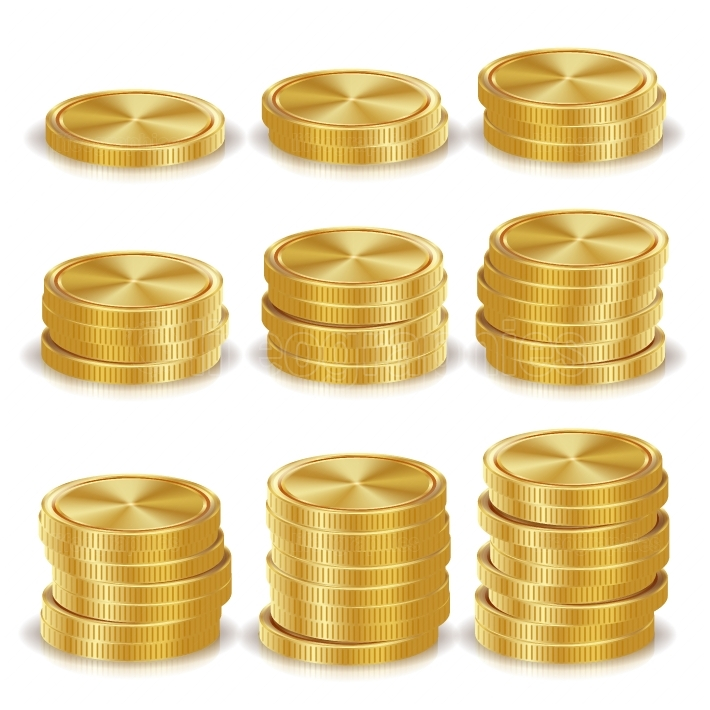 Gold Coins Stacks Vector  Realistic Isolated Illustration