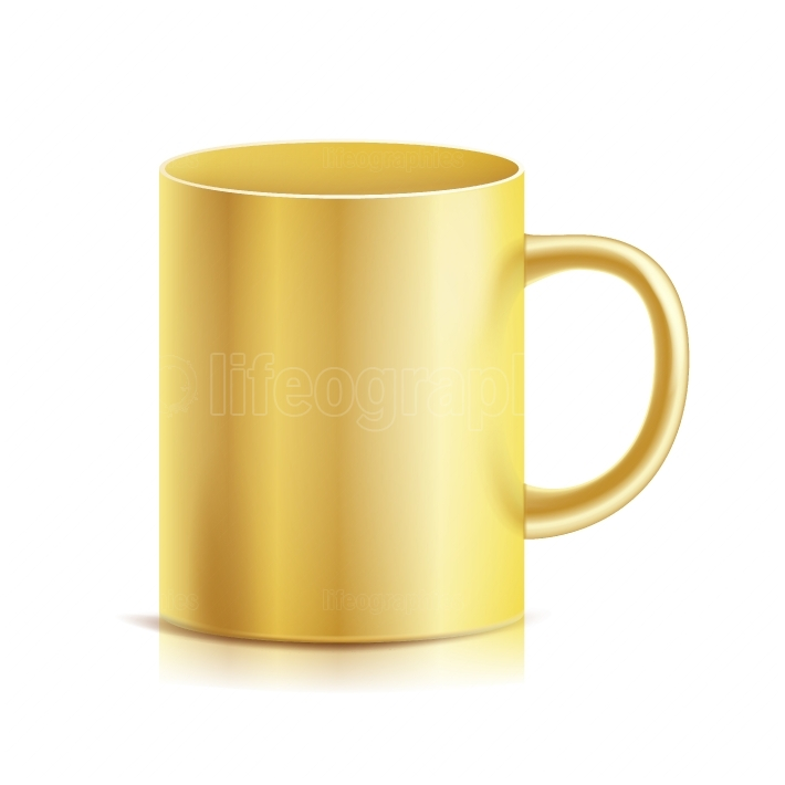 Gold Cup, Mug Vector  3D Realistic Golden Cup Isolated On White Background  Classic Metal Mug Template With Handle Illustration  For Business Branding