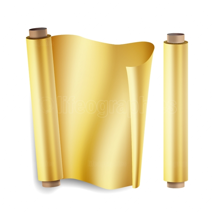 Gold Foil Roll Vector  Close Up Top View  Opened And Closed  Christmas Gift Wrapping  Realistic Illustration Isolated On White