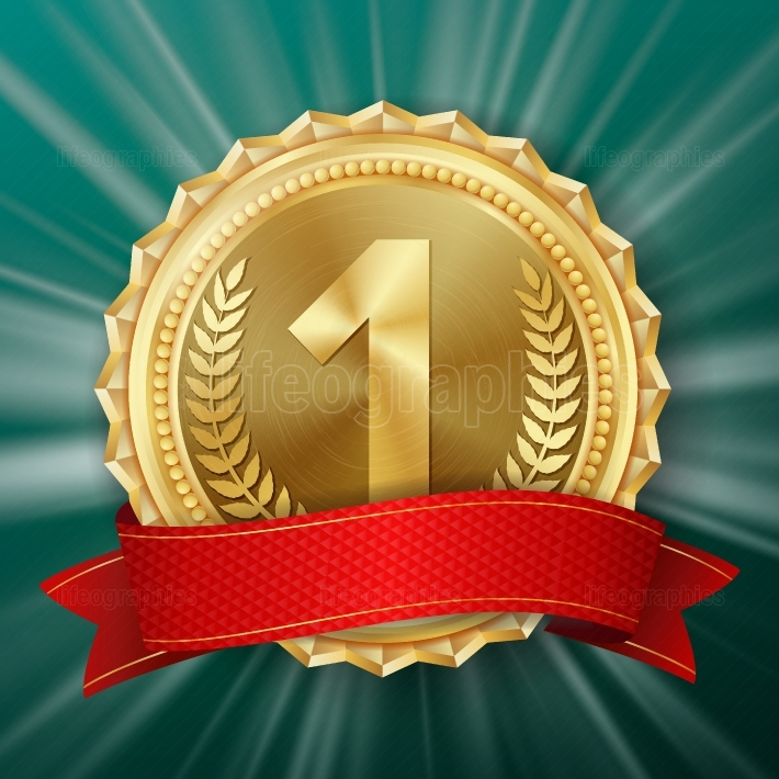 Gold Medal Vector  Golden 1st Place Badge  Metallic Winner Award  Red Ribbon  Olive Branch  Realistic illustration