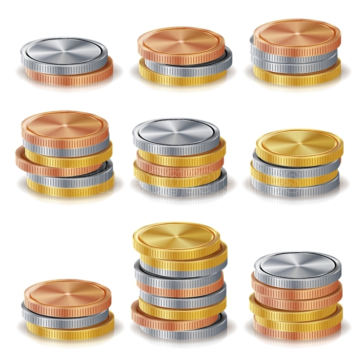 Gold, Silver, Bronze, Copper Coins Stacks