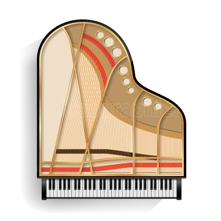 Grand Piano Opened Vector  Realistic Black Grand Piano Top View  Isolated Illustration  Musical Instrument