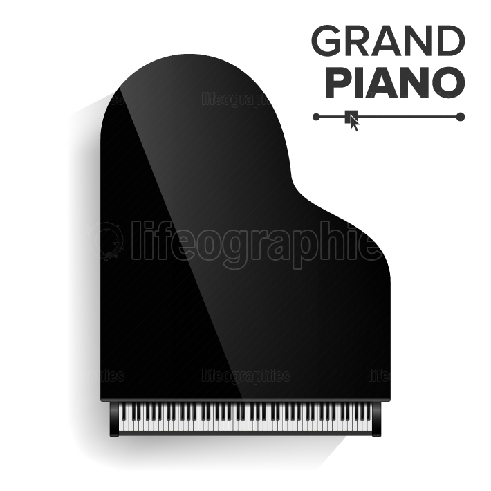 Grand Piano Vector  Realistic Black Grand Piano Top View  Isolated Illustration  Musical Instrument