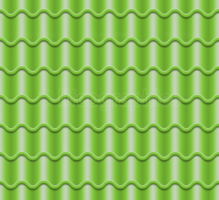 Green Corrugated Tile Vector  Element Of Roof  Seamless Pattern  Classic Ceramic Tiles Cover Illustration