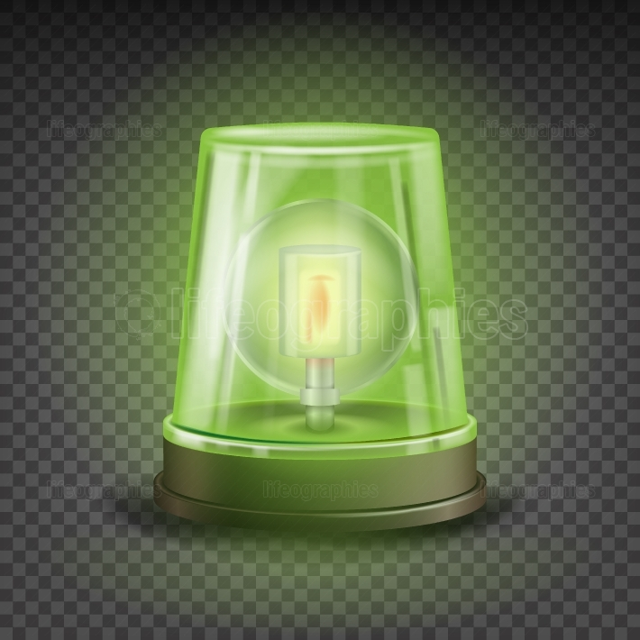 Green Flasher Siren Vector  Realistic Object
