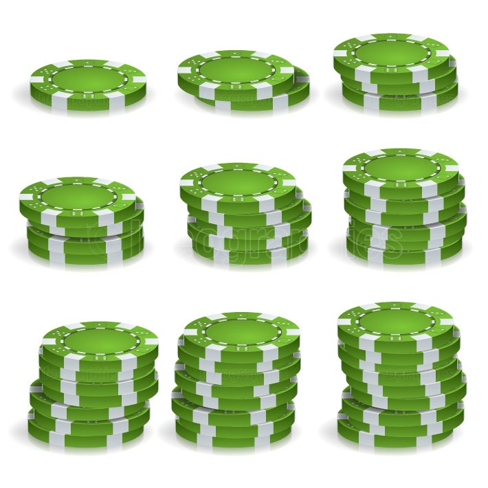 Green Poker Chips Stacks Vector  Realistic Set  Poker Game Chips Sign Isolated On White Background  Casino Success Concept Illustration