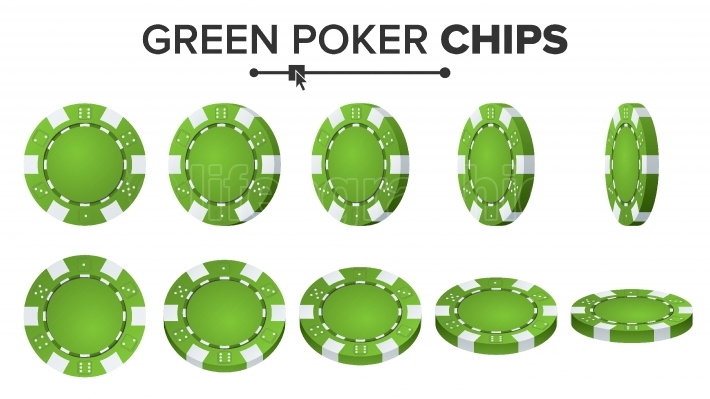 Green Poker Chips Vector  Realistic Set  Poker Game Chips Sign Isolated On White Background  Flip Different Angles  Success Concept Illustration