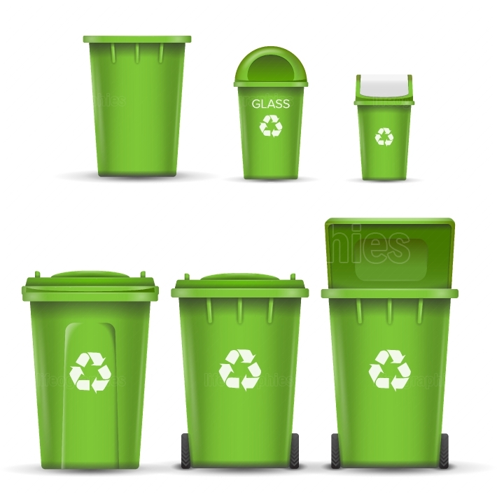 Green Recycling Bin Bucket Vector For Glass Trash  Opened And Closed  Front View  Sign Arrow  Isolated Illustration