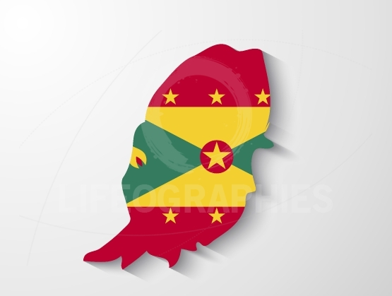 Grenada country map with shadow effect presentation