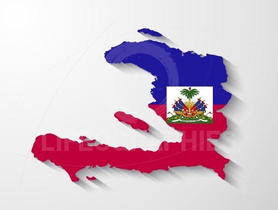 Haiti  country map with shadow effect presentation