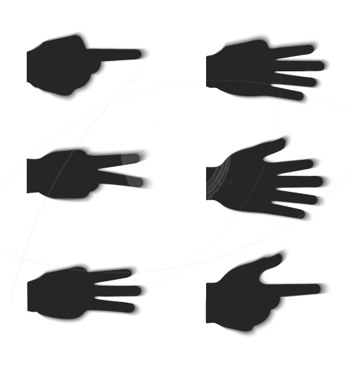 Hand gesture silhouettes with shadow effect isolated on white