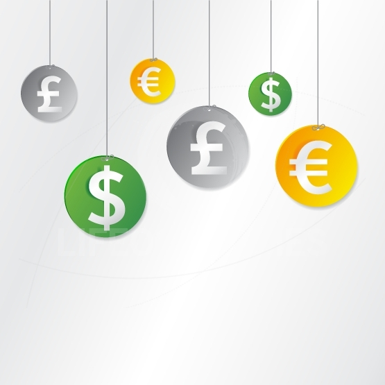 Hanging currency signs - Useful as background