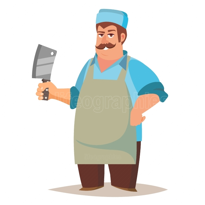 Happy Butcher Vector  Standing Butcher Man With Knife  Natural Meat  For Steak, Meat Market, Storeroom Advertising Concept  Cartoon Isolated Illustration