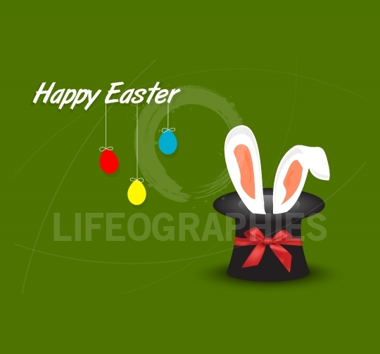 Happy Easter postcard with hanging eggs and rabbit ears coming o