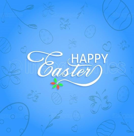 Happy Easter text with hand drawn decorative background