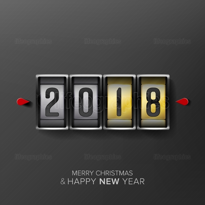Happy New Year 2018  Vector Greeting Card Background  Odometer Style, Counter