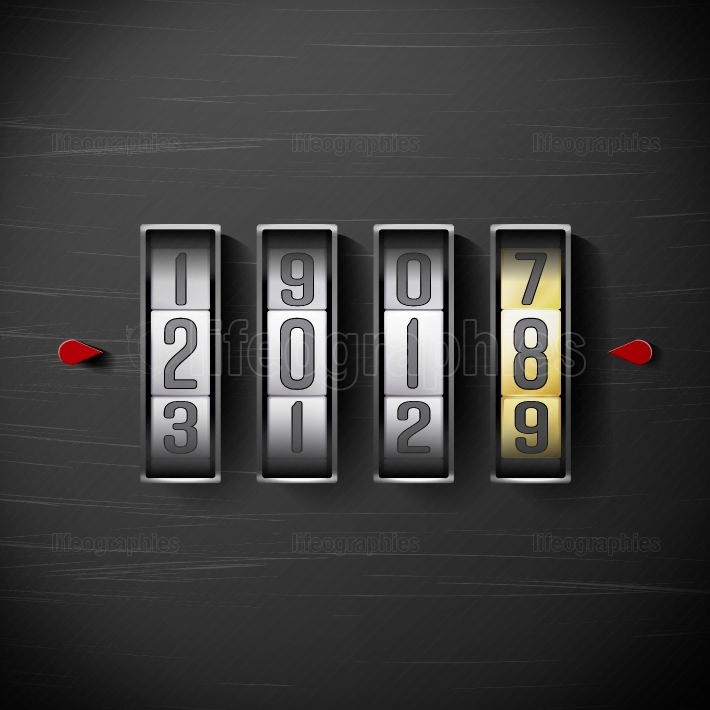 Happy New Year 2018  Vector Shining Clock Counter Illustration