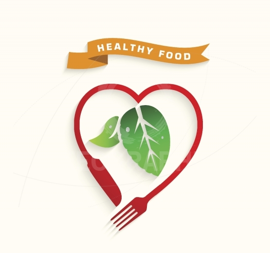 Healthy food icon concept,Love healthy food