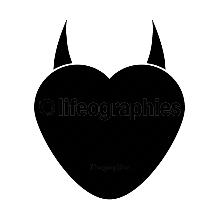 Heart with devil horn black color icon