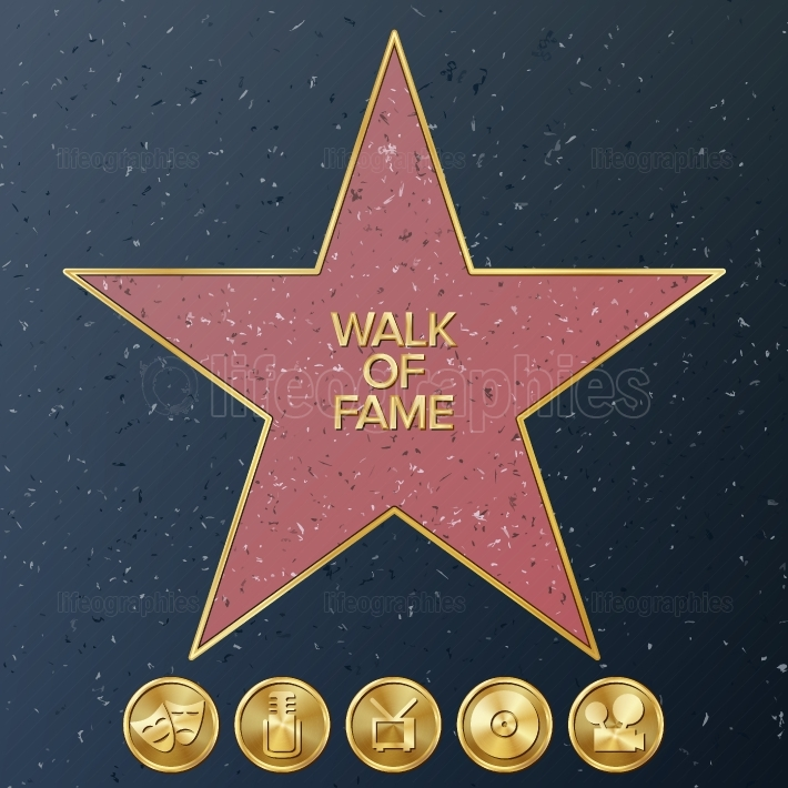 Hollywood Walk Of Fame  Vector Star Illustration  Famous Sidewalk Boulevard