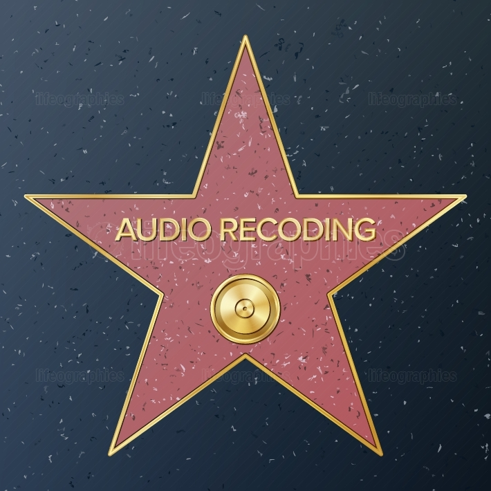 Hollywood Walk Of Fame  Vector Star Illustration  Famous Sidewalk Boulevard  Phonograph Record Representing Audio Recording Or Music  Public Monument To Achievement