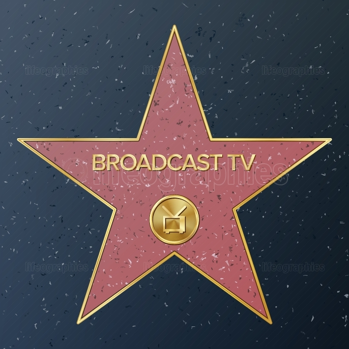Hollywood Walk Of Fame  Vector Star Illustration  Famous Sidewalk Boulevard  Television Receiver Representing Broadcast Television  Public Monument To Achievement