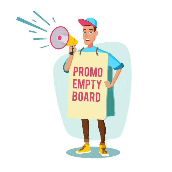 Human Billboard Vector  Man Holding Empty Board  Social Or Political Movement  Isolated Flat Cartoon Character Illustration