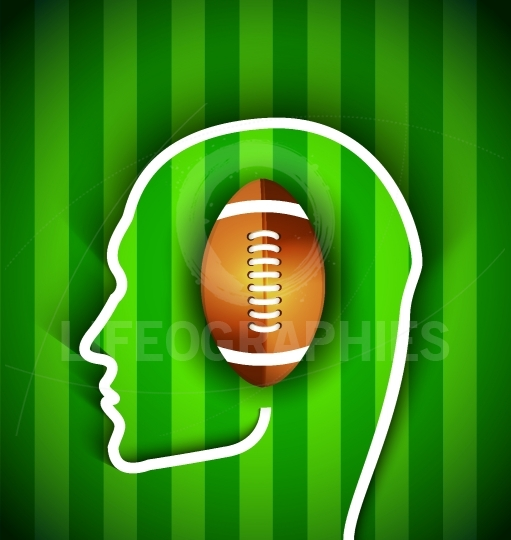 Human head with rugby,football American  ball - Rugby,American f