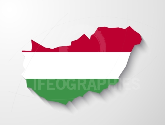 Hungary  country map with shadow effect presentation